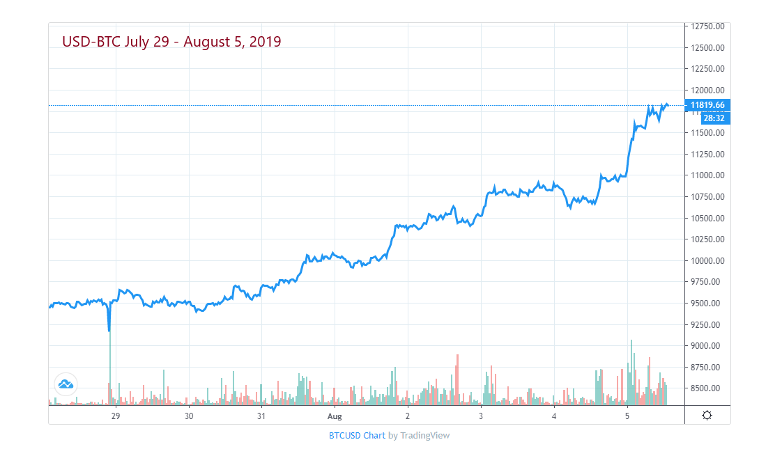 Bitcoin Price Week of July 29 - August 5, 2019