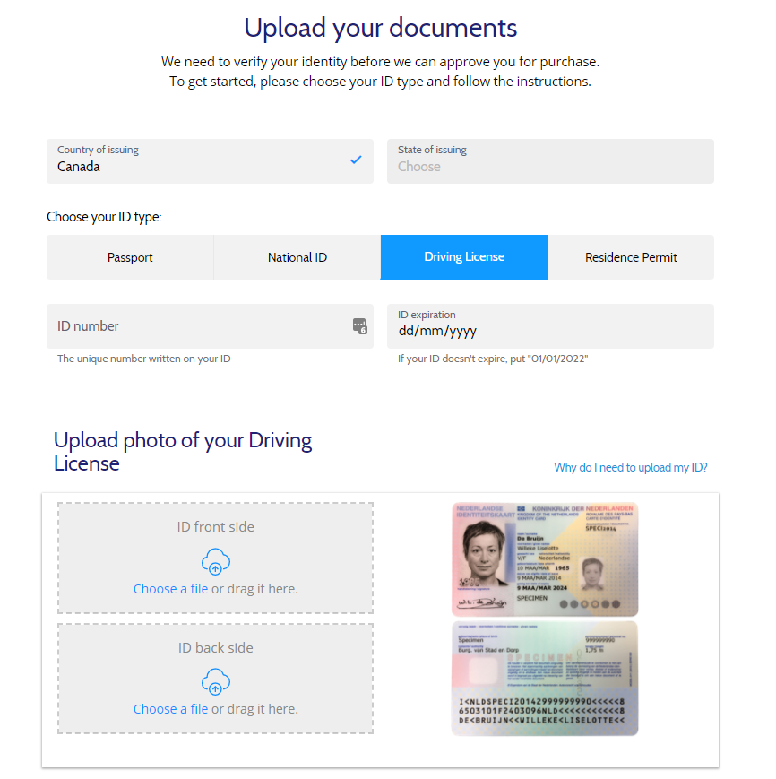 Coinmama: Upload documents