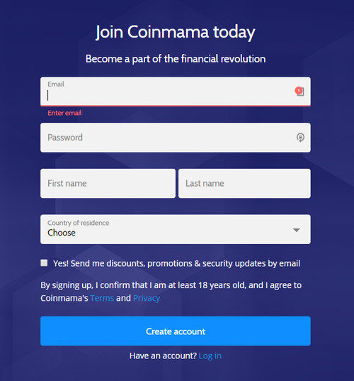Coinmama Registration