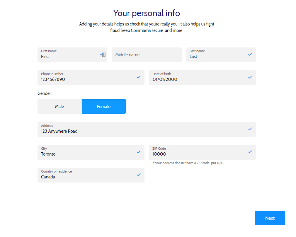 Coinmama: add your personal details